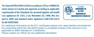 Separett ETL certification label