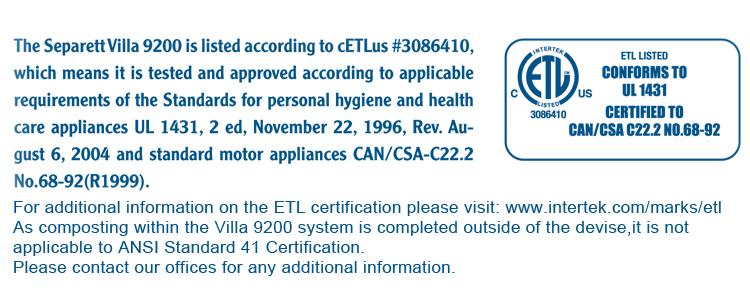 etl separett label canada toilet composting toilets certification certified ansi standard